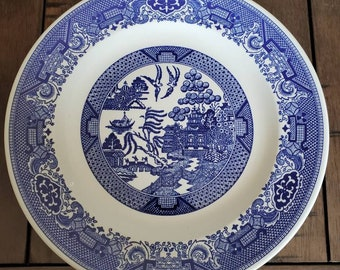 Royal China\u2019s Handled Willow Ware Cake Plate and Dinner Plate