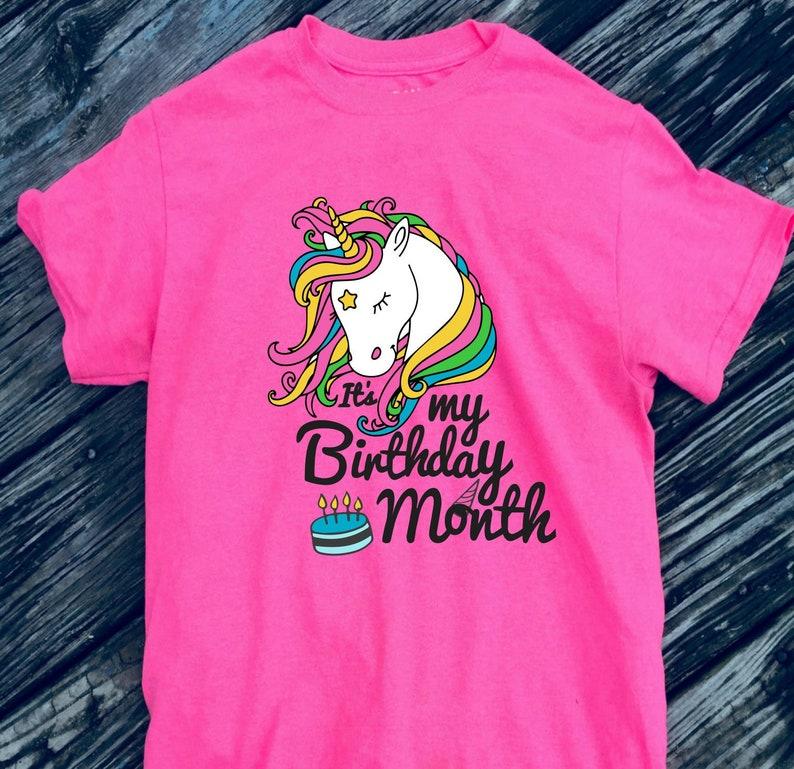 Unicorn Birthday Month Tshirt Rainbow Girls