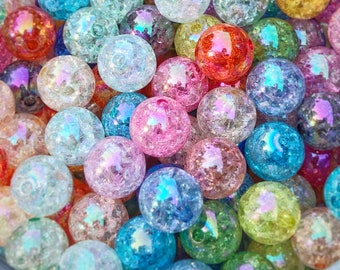 12mm Kawaii Beads   Mixed Color Crackle Beads   Acrylic Round Beads   Chunky Color Beads   Colorful Bubblegum Beads   Jewelry Supplies