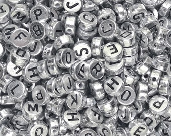 400 White Alphabet Mixed Letters Beads 6.5mm Flat Round Jewellery Making Beads
