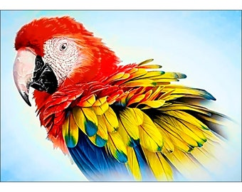SALE FATHER'S DAY Feathered Parrot Collection D'art Diamond Embroidery/Printed/Gem Kit 27X38cm Bird
