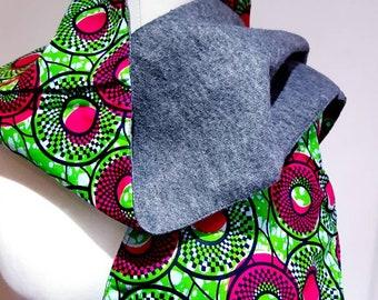 Ankara Neck scarf, African print scarf with tassels, ankara winter accessories, unisex gift