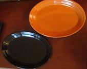 Halloween Perfect Orange Black Fiesta Small Platters Excellent Condition