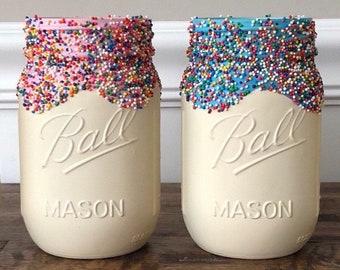 Donut jar, donut centerpieces, donut, cupcake jar, sprinkle jar, donut birthday, baby shower, first birthday, donut decorations, donut party