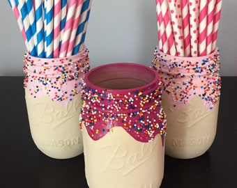 Donut jar, donut, cupcake jar, sprinkle jar, donut birthday, donut theme