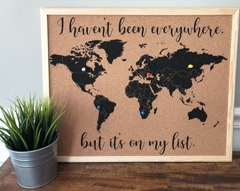 World map pin board etsy world map cork board with pins personalized with quote family or name cork map personalized map cork board map cork board gumiabroncs Image collections