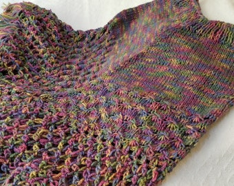 One-tiered Multicolored Knitted Poncho