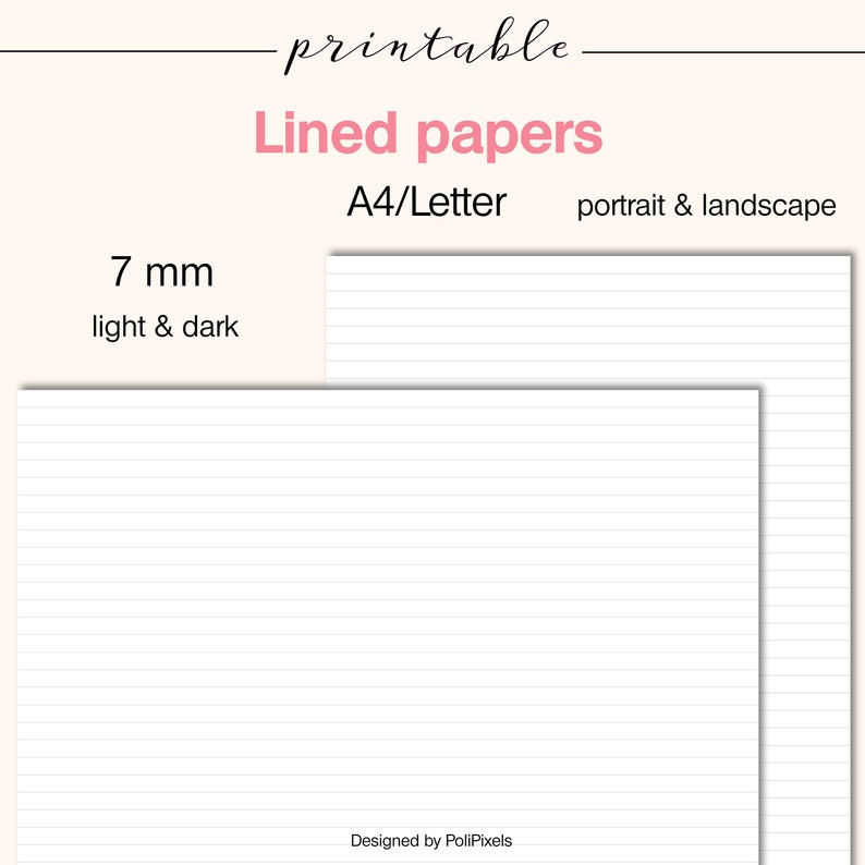 LINED PAPERS 7 mm, Digital Lined paper, Digital A4 paper, Digital Letter  paper, Printable Basic sheets, Note paper - PP002