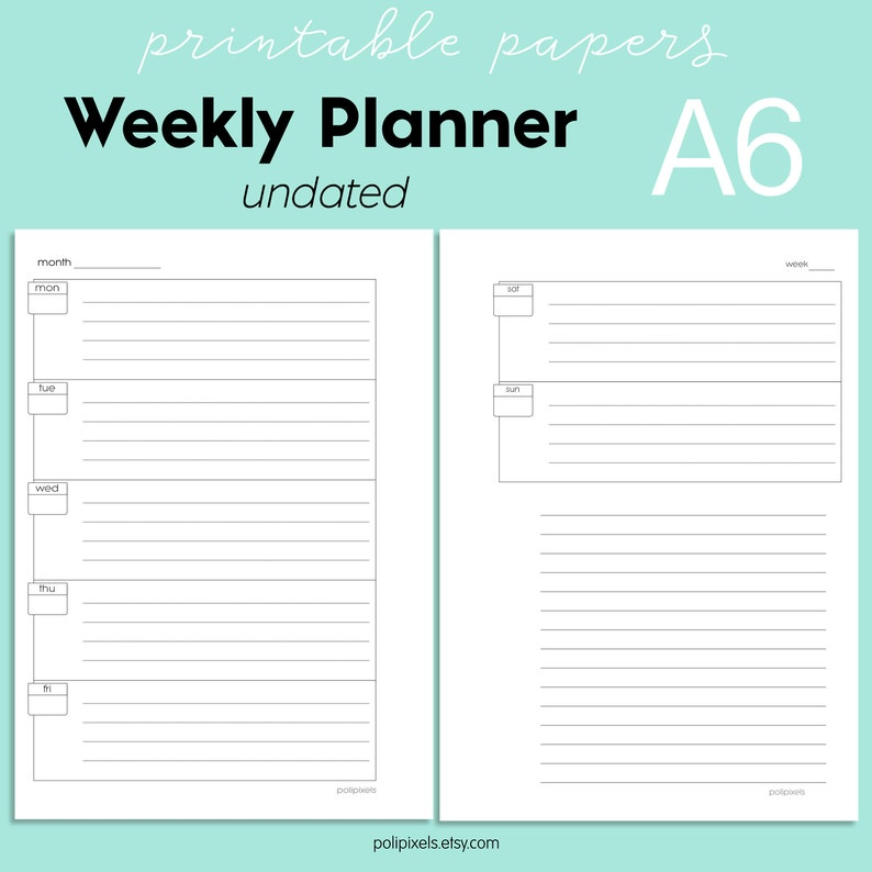printable weekly planner a6 undated planner week on two | etsy