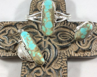 Genuine #8 turquoise and Sterling silver adjustable ring, cuff bracelet and Pendent set