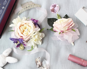 Pink Rose Corsage and Boutonniere Set — silk flower corsage with pin boutonniere // Homecoming / Prom / Wedding / Bridesmaids