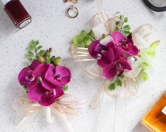 Magenta Orchid Corsage and Boutonniere Set — silk flower corsage with pin boutonniere // Homecoming / Prom / Wedding / Bridesmaids