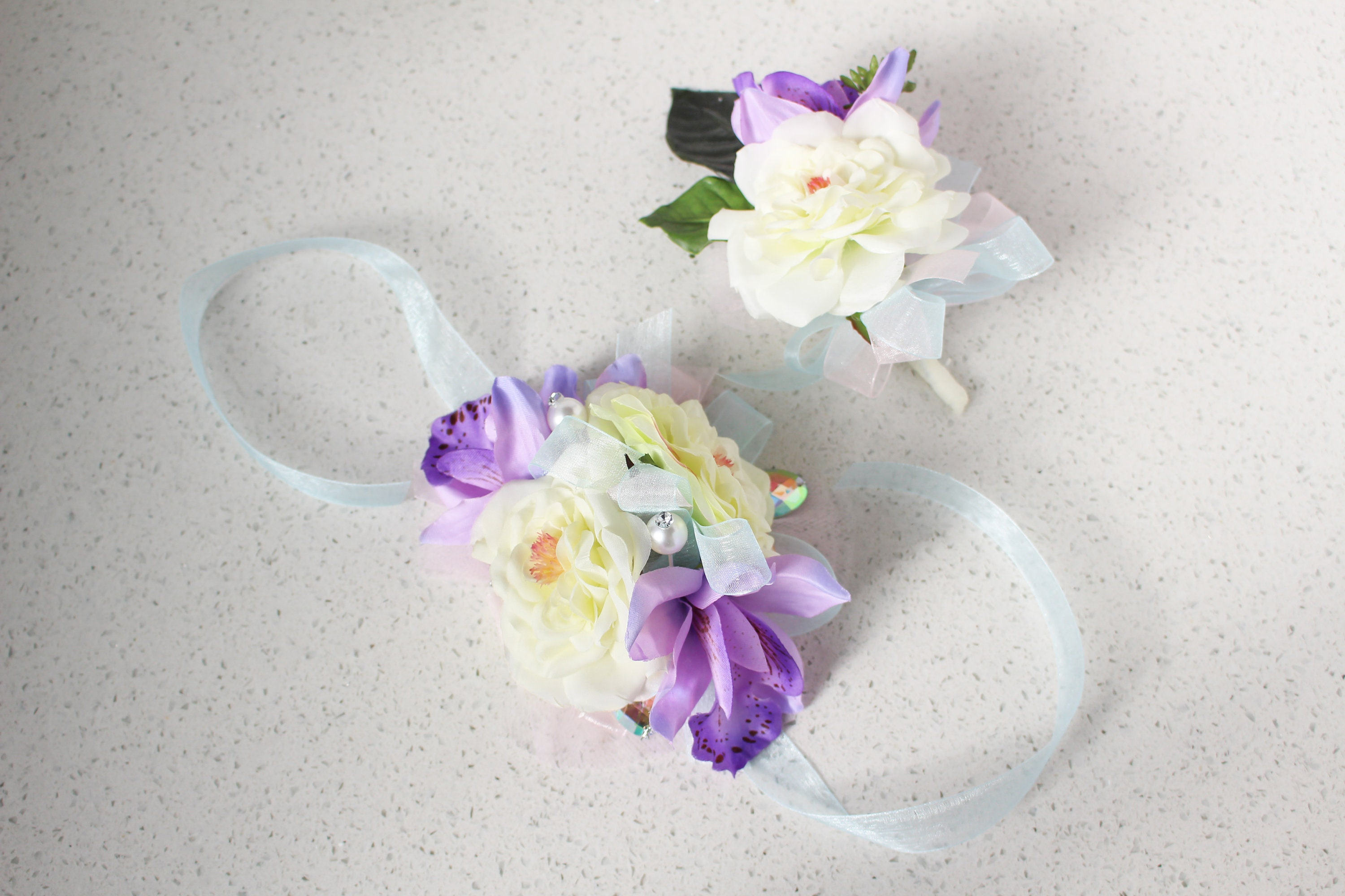 Unicorn Corsage And Boutonniere Set Silk Flower Corsage With Etsy