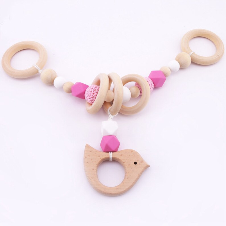 Wood Silicone Baby Toys Pram Garland Chain,Wooden Bird Silicone Beads  Wooden Ring Stroller Montessori Toy