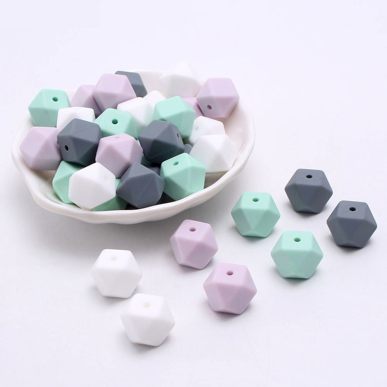 Soft Pastel Silicone Beads 14 MM Hexagon Silicone  Beads silicone Beads Silicone Loose Beads BPA Free