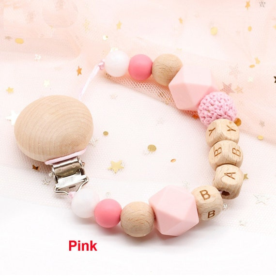 Personalised Name Silicone Beads  Baby Pacifier Chain Dummy Clip Soother Holder