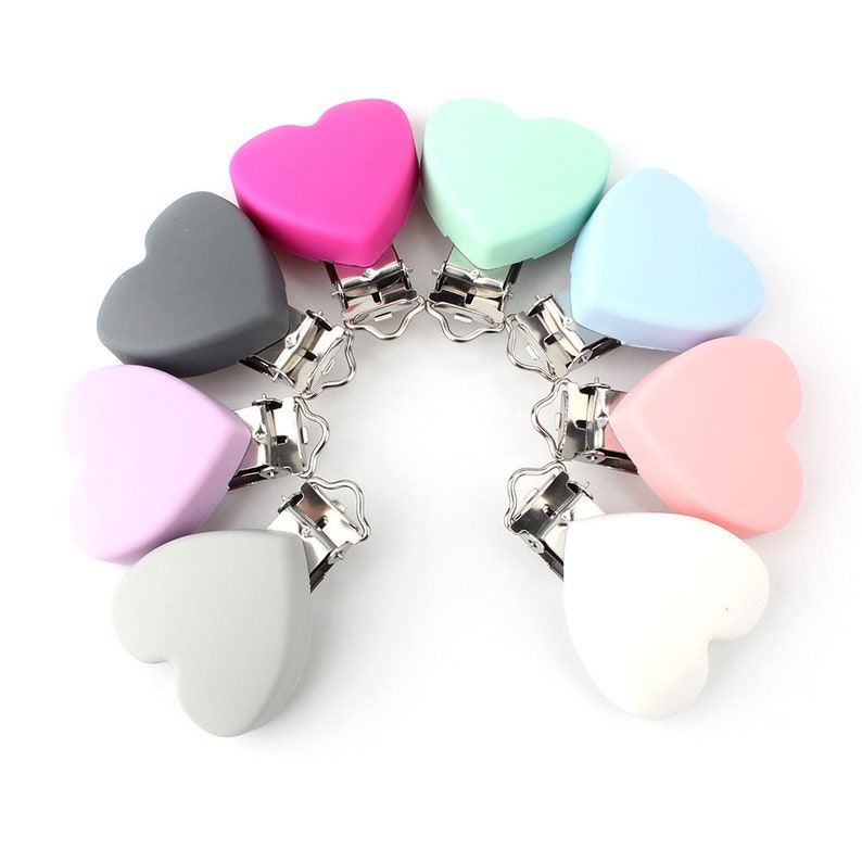 Wholesale 1-10 pcs Heart Shaped Silicone Pacifier Clip BPA Free Baby Soother Dummy Chain Holder Clip Toy Making