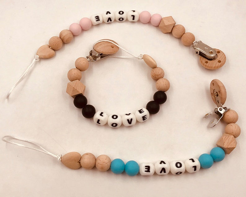 Silicone Wooden Beads Teething Personalized Baby Name Dummy Pacifier Chain Clips