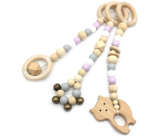 BPA Free Elephant Silicone Toy Wood beads Bird  Toy Baby Play Gym Toys Nursery Acessories