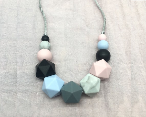Silicone Teething Necklace Crochet Wood Beads Necklace Baby Sensory Jewelry Gift