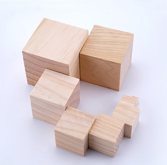 Blank Block Unfinished Cubic square Wooden block wood cube DIY baby age blocks Gift Craft supplies