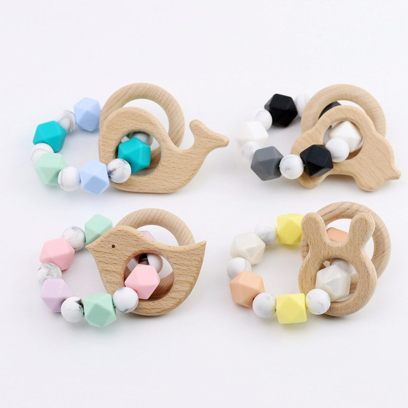 Natural Organic Wooden Rabbit Ear Teething Ring Wood Teether Baby Chewy Toy OO