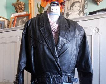 Black Leather Cropped Coat