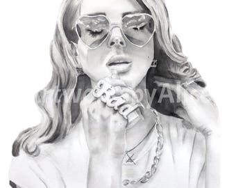 Lana Del Rey - Watercolour Portrait A4 Art Print from Original Painting in Black & White