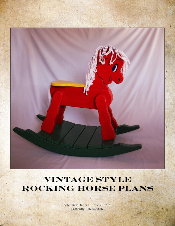 Wooden Rocking Horse Plans Vintage Rocking Horse Wooden Toy Etsy