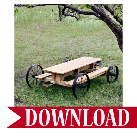 Picnic Table Plans How To Build A Picnic Table Outdoor Furniture Plans Wagon Wheel Table Rustic Outdoor Furniture Wagon Wheels Rustic Table