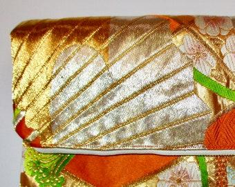 Orange and Gold Two-way Fold Over Obi Silk Clutch Purse