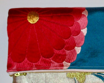 Pink Floral on Blue Two-way Fold Over Obi Silk Clutch Purse