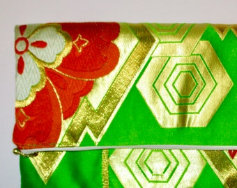 Green and Gold Two-way Fold Over Obi Silk Clutch Purse