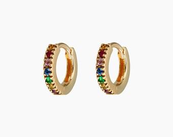 775ad57c1 Mini Ear Huggie, Cartilage Hoops, Gold CZ Ear Huggies, Gold Mini Ear  Huggies, Ear Huggies, Rainbow Hoops, Thin Mini Ear Huggies, Rainbow
