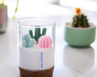 Cactus Candle for Cactus and Succulent Lovers | Mini Terrarium