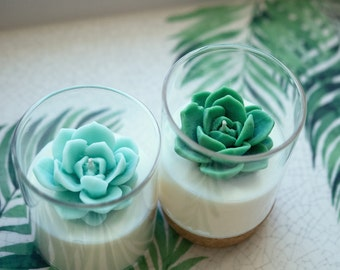 Succulent Soy Candle   Room Decor for Cactus and Succulent Lovers   Wedding Favors   Housewarming Gifts
