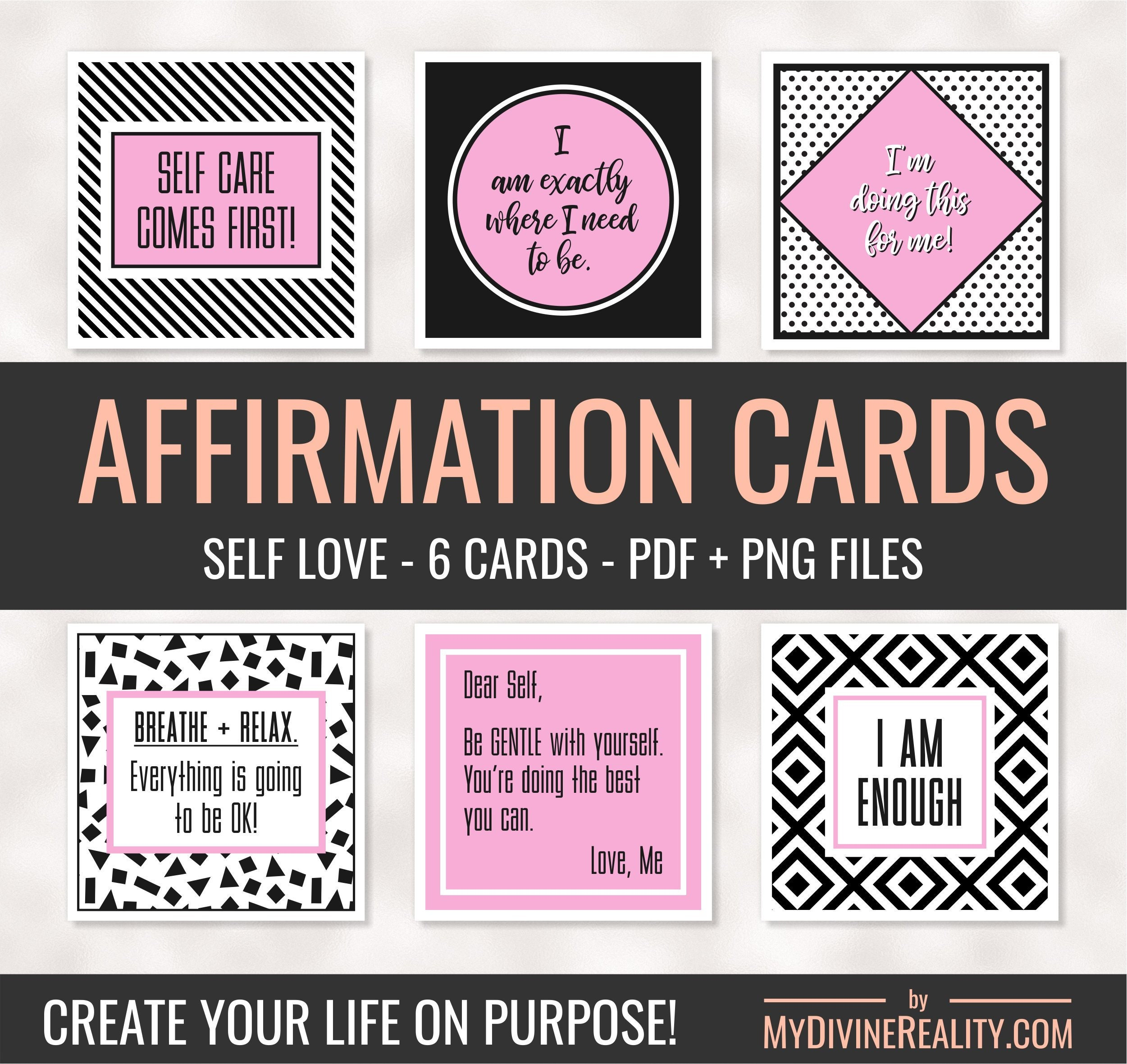 image about Printable Affirmations referred to as Printable Confirmation Playing cards Affirmations for Self Appreciate Printable Estimate Playing cards Regulation of Enchantment Favourable Affirmations Eyesight Board