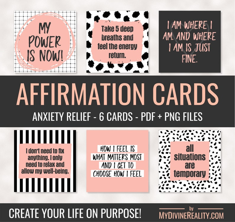 photograph about Printable Affirmations identified as Printable Confirmation Playing cards Affirmations for Stress and anxiety Printable Estimate Playing cards Regulation of Appeal Guaranteed Affirmations Nervousness Aid