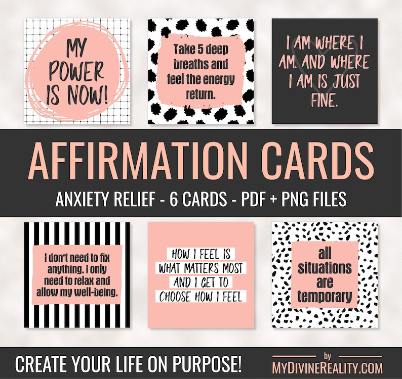 photo regarding Printable Affirmations identified as Printable Confirmation Playing cards Affirmations for Panic Printable Estimate Playing cards Legislation of Appeal Absolutely sure Affirmations Anxiousness Reduction