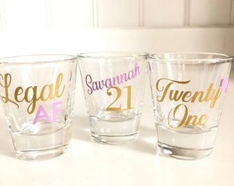 21st Birthday Shot Glass Gift Legal AF Finally 21 For Her Personalized