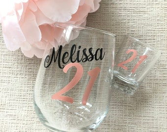 21st Birthday Wine Glass Shot Gift Finally 21 For Her Legal Personalized AF