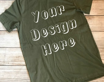 Download Free Bella Canvas 3001C Unisex Tee Military Green Mockup Flat Lay INSTANT DOWNLOAD PSD Template