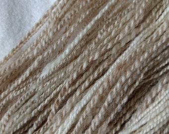 Natural colored 8 ply yarn, Hand spun, Merino / Finn blended (70/30)