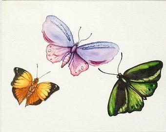 """11"""" x 7.5"""" Butterflies Art watercolour fine art painting original artwork gift"""