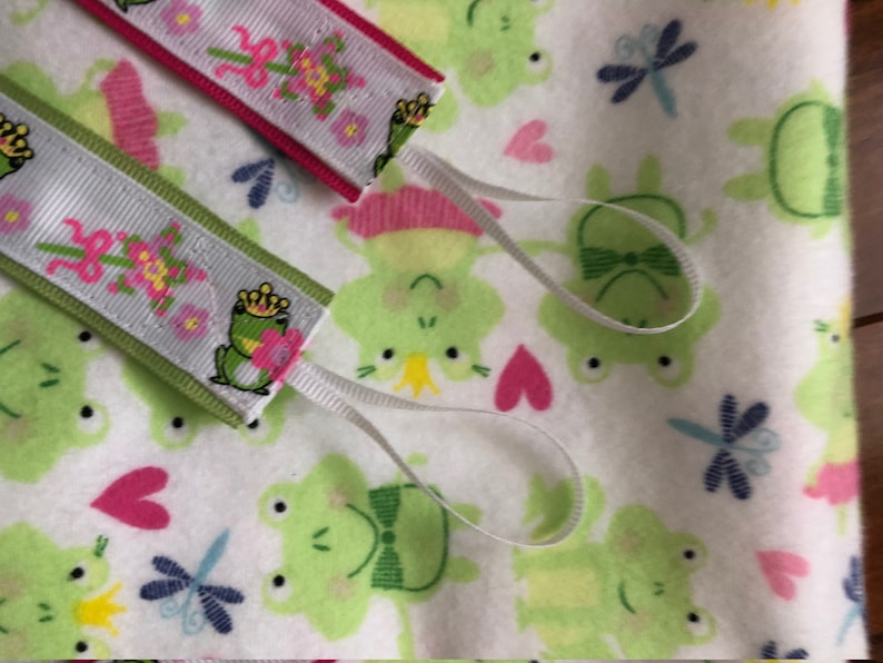 Frog Receiving Blanket and pacifier clip set binky clip frog prince baby blanket XL receiving blanket and matching pacifier clip