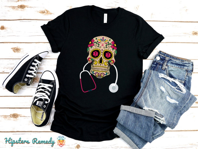 Day of the Dead Skull Medical T-Shirt Mexican Doctor and Black
