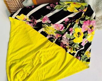 Hair Plop Towel, T-shirt Towel, Tshirt Towel Curly Hair, Turban Style Mid-weight, Hair Towel, Yellow and Black Stripe, Floral Towel