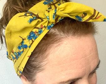 Tie Headband, Light Green Floral Headband, Chartreuse Headband, Blue Floral Headband, Women's Headband