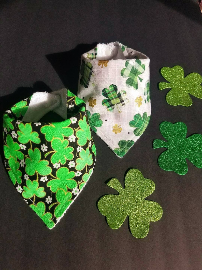 Patricks Day four leaf clover baby bibs holiday themed green bibs cotton baby bibs St