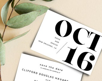 Wedding Save the Date Announcement Cards Canva Template Customizable 4 x 6 Minimalist
